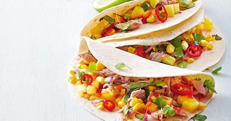 Got leftover pork or turkey? Pop these speedy tacos on the menu!