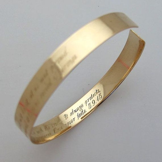 Custom engravable bracelets have long become a must-have jewelry piece. Here is the best sample of modern personalized jewelry. The minimalist style gold bracelet is made of quality 14K gold filled. The quality metal ensures, that the piece will stay long in your collection looking really great.  Charming, romantic bracelet. Elegant gold accessory that never goes out of fashion.  The focal point of the piece is the engraving Ill make specially for you. I can make it outside or this can be a…