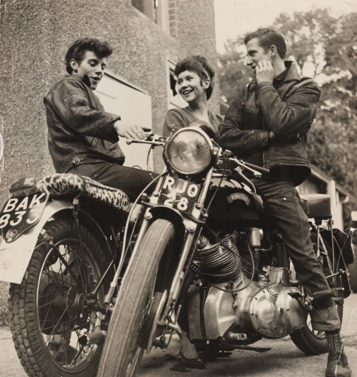 A photograph entitled 'Teenagers with motorbikes', taken in 1963 by an unknown photographer for the Daily Herald.