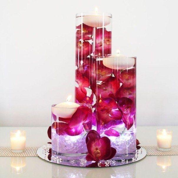 Романтический декор свечами