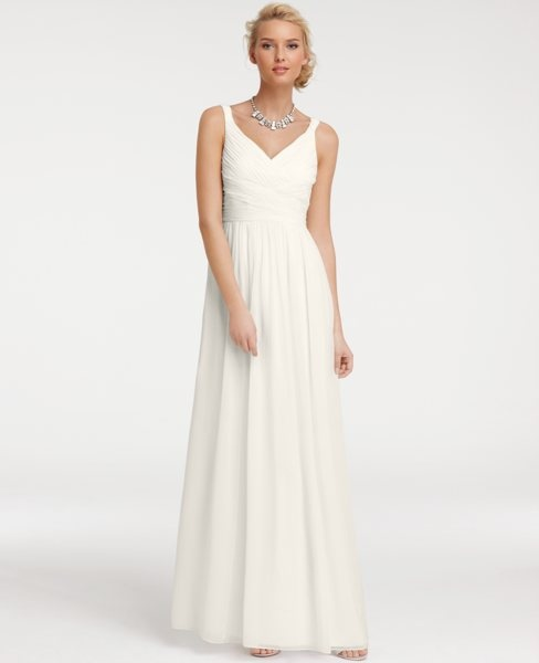 Silk Georgette V-Neck Gown