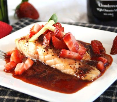 Roasted Salmon in a Strawberry-Balsamic Reduction: Fun Recipes, Strawberry Balsamic Reduction, Roasted Salmon, Inspirededibles Salmon, Food, Healthy, Roasted Strawberries, Inspired Edibles