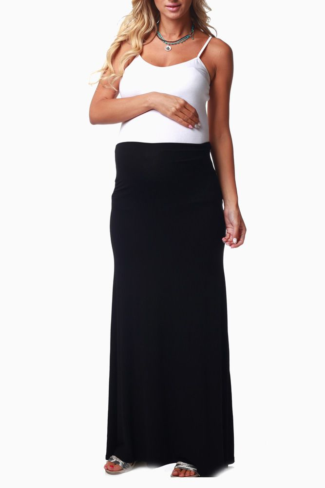 Black-Basic-Maternity-Maxi-Skirt #maternitymaxiskirt #maternitybasics #cutematernityclothes