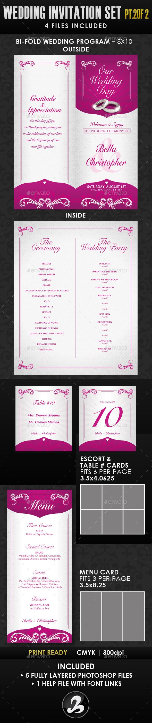 free wedding invitation psd%0A Wedding Invitation Template Set  by CreativB PART   OF   Use these  templates for your wedding  fancy birthday party or any elegant event