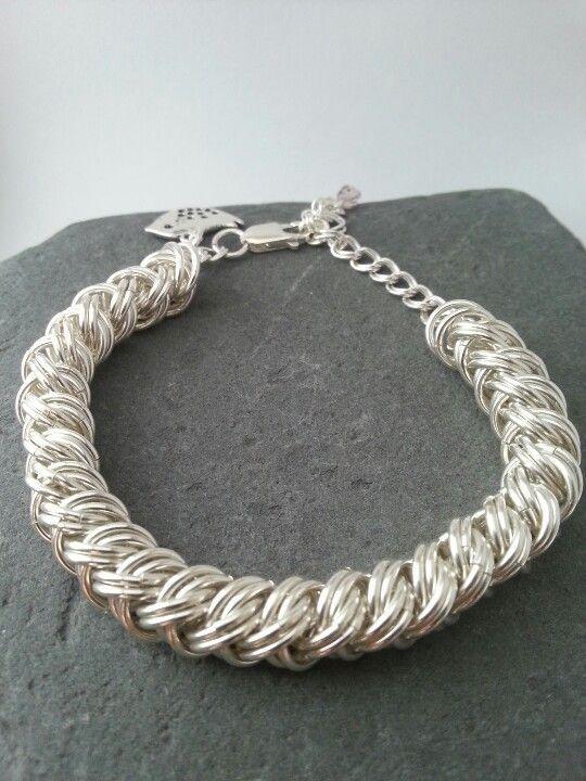 Sterling Silver Chain Maille Plait Bracelet By Grace Owen
