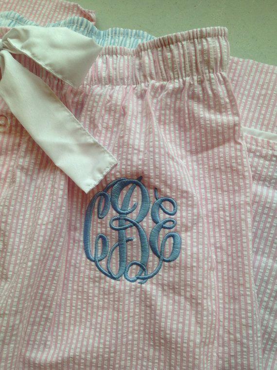 Monogrammed LARGE Pink Seersucker Women's Pajama Pants on Etsy, £15.82