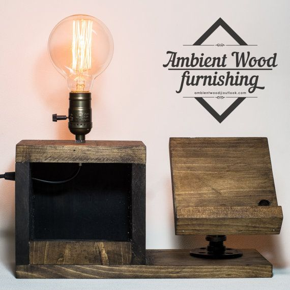 Wood Bedside Utility Storage Box Lamp With Pipe by AmbientWood