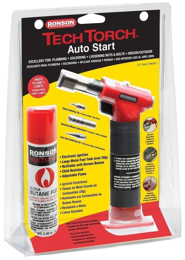 Brand New!! Ronson Tech Torch Auto Start - Plumbing Soldering Heat Shrink Tubing #Ronson