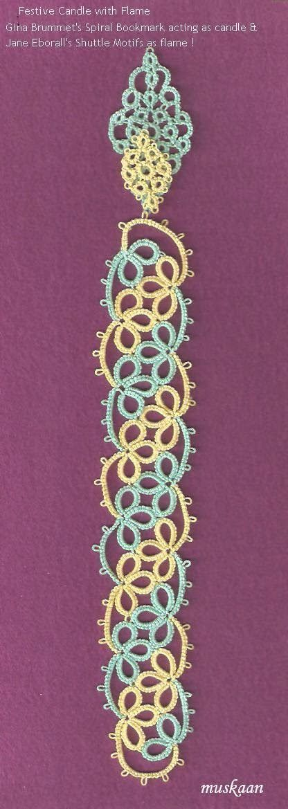 Tatted Spiral Bookmark with Shuttle Charms and a lot more possibilities such as a Candle, Flute, peacock plumes, etc.