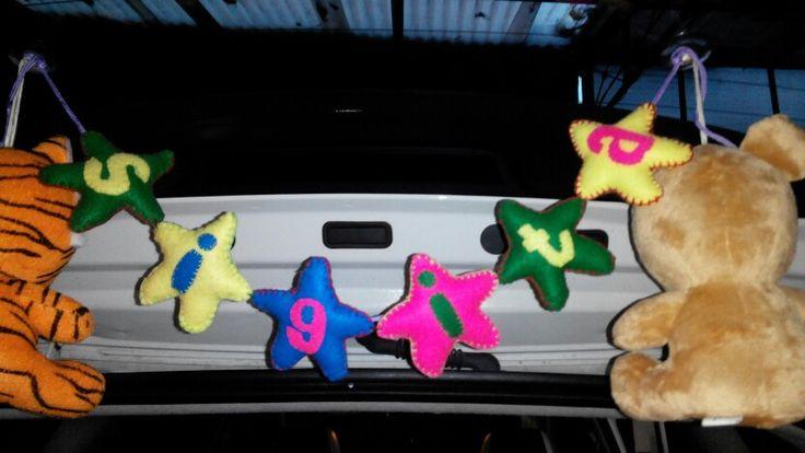 Aksesoris mobil terbuat dari kain flanel berbentuk bintang ;) handmade
