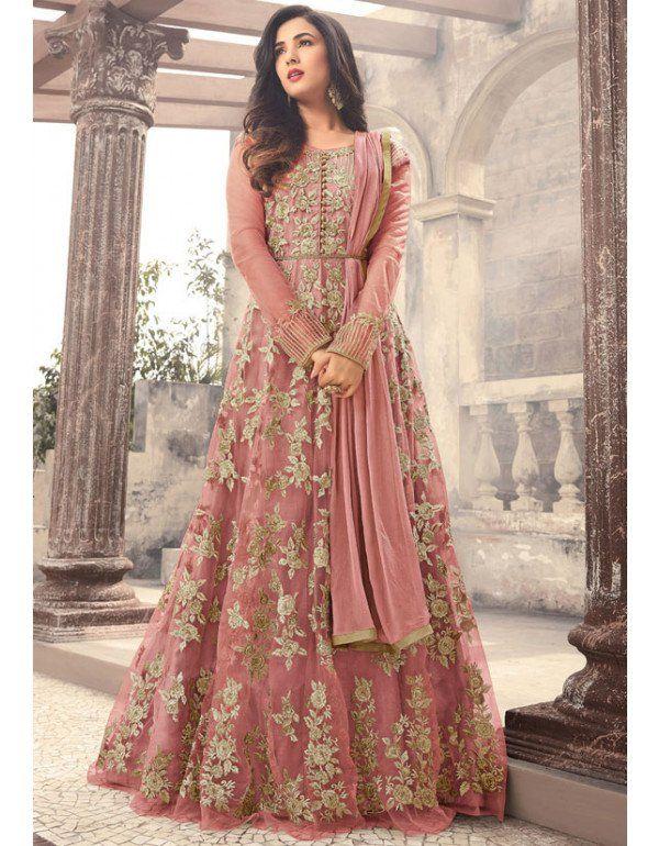 e2ce17e4d1 Sonal Chauhan Dusty Pink Designer Anarkali Suit | Beautiful art ...