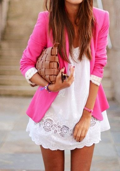 Pink Blazer + White Dress