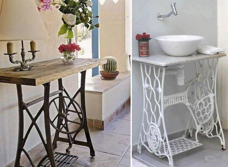 Mesa patas maquina de coser mesas recicladas pinterest - Mesa para maquina de coser ikea ...