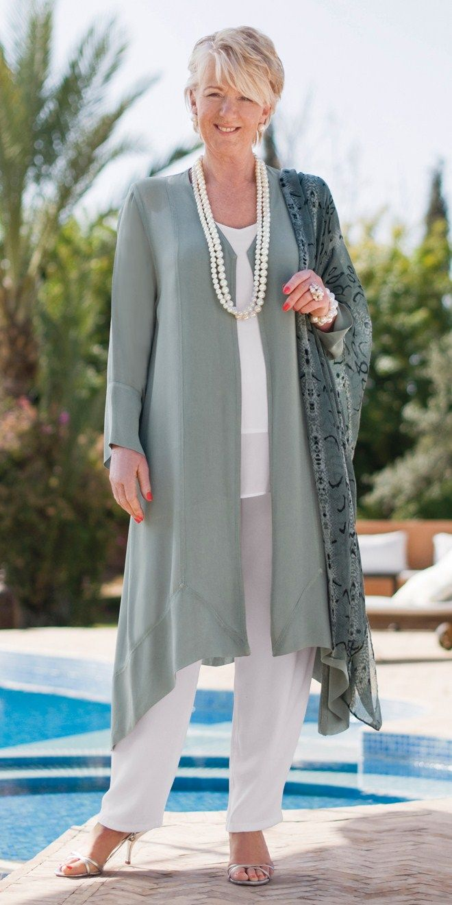 Belladonna verdigris chiffon coat, white crepe trousers and vest, chiffon scarf