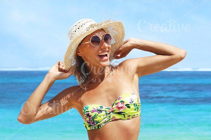 happy woman on the beach by Trefilova Anna on @creativemarket