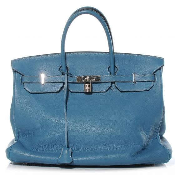 HERMES Taurillon Clemence Birkin 40 in Blue Jean.