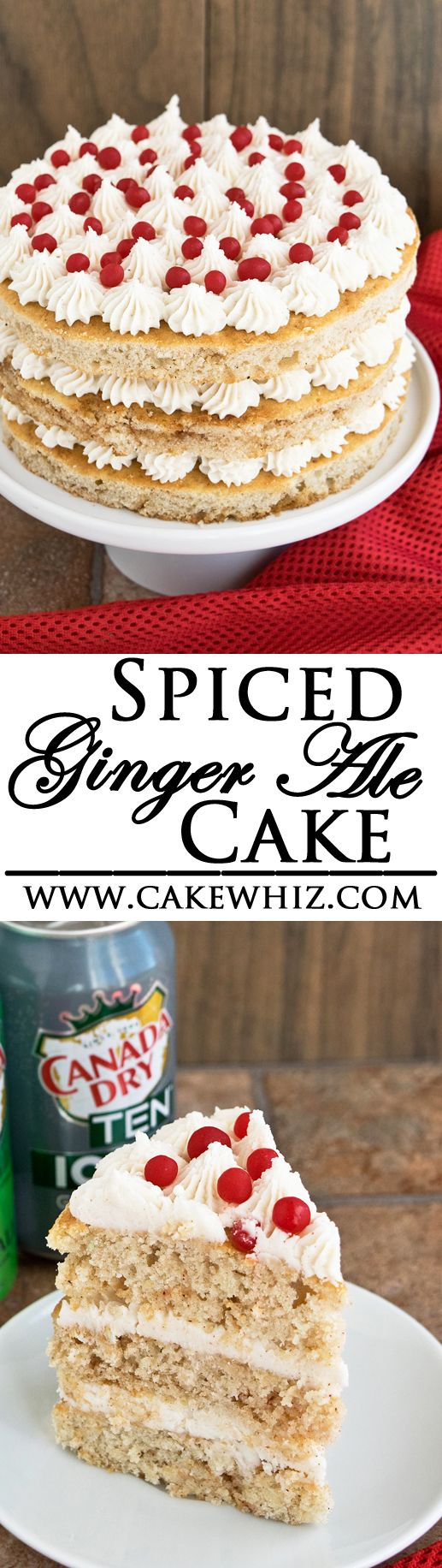 This is the best SPICED GINGER ALE CAKE ever for serving during the holiday season! Made with freshly grated ginger and ginger ale and packed with lots of wonderful spices. From cakewhiz.com #BrighTENtheSeason [Ad]