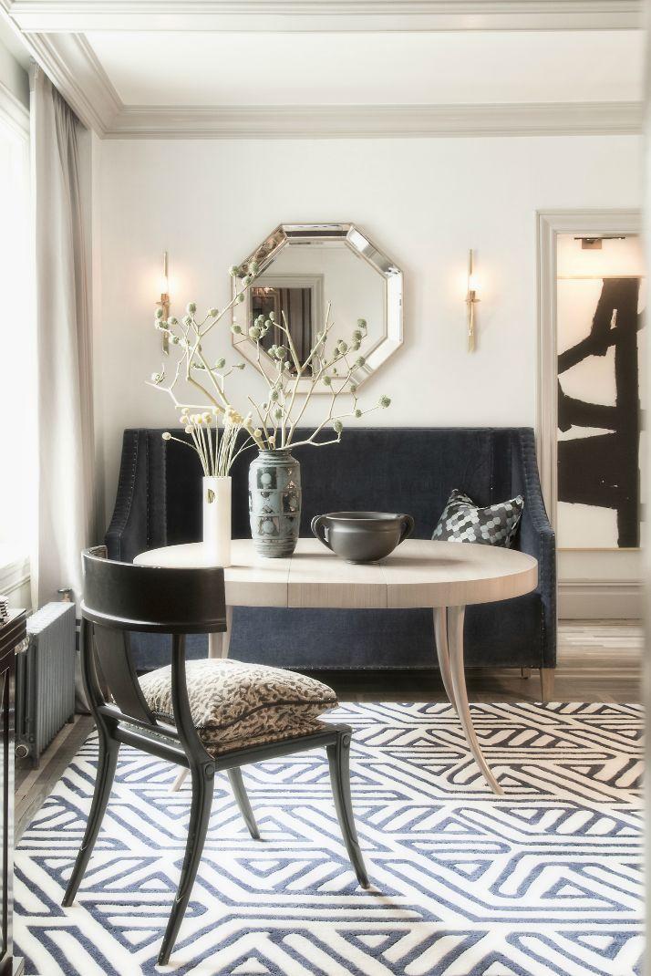 antonino buzzetta breakfast nook--dining settee, klismos chair, geometric rug