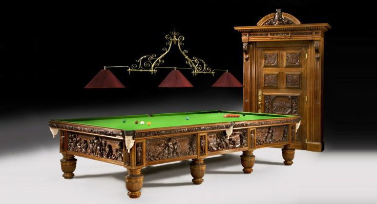 Queens jubilee billiard table and matching cue cupboard - Most expensive pool table ...