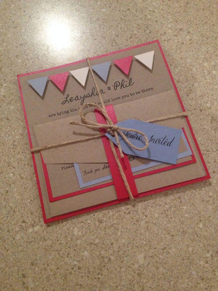 #weddinginvite #handmadeinvite #bunting #buntinginvite #buntingwedding #redbluewhite #rusticinvite