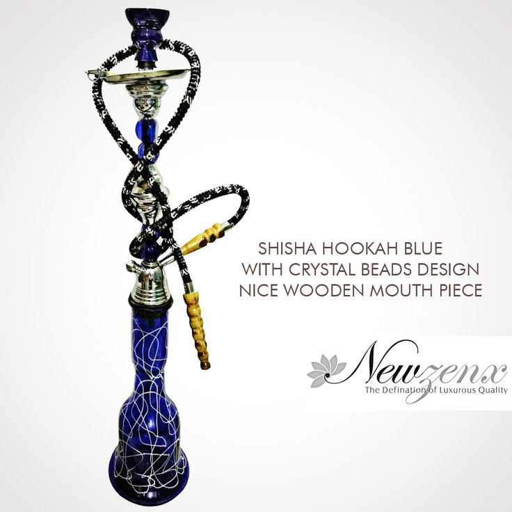 "Shisha Hookah Mya Royal Blue 28"" -New Zenx Size: 28"" Weight:2000gm Shisha Hookah blue with crystal beads design nice wooden mouthpiece. www.newzenx.com #newzenx #hookahred #royalblue #buyeroffers #specialoffers"