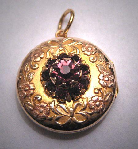 Rare Antique Rose Gold & Amethyst Locket Victorian 1900