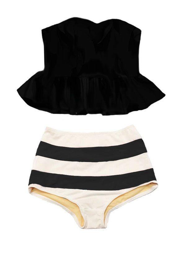 Black Strapless Long Peplum Tankini Top and Stripe Striped High Waisted Waist Bottom Swimsuit Bikini Swimwear Swimming Bathing suit S M L XL by venderstore on Etsy