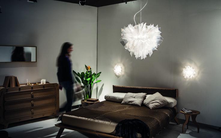 Bedroom: Veli Suspension Prisma and Veli Mini Prisma Wall Lamps