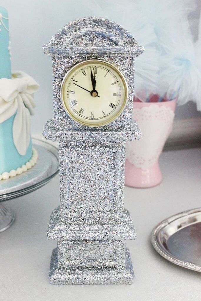 Shimmering clock from a Princess Cinderella Birthday Party via Kara's Party Ideas   KarasPartyIdeas.com (27)