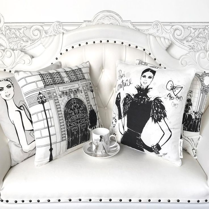 """398 Likes, 8 Comments - Megan Hess (@meganhess_official) on Instagram: """"NEW CUSHIONS!!! My French Grey Collection has just been released. 6 new designs all in black and…"""""""