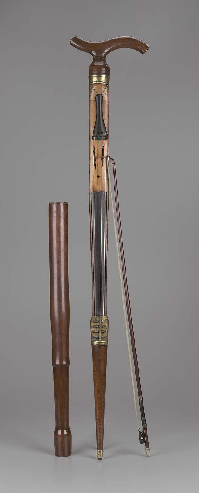 """Walking-stick Violin and Bow - photo via Museum of Fine Arts, Boston;  1850 - 1900;  made by Moritz Wilhelm Glaesel;  35-5/8"""" long x 1-11/16"""" wide"""