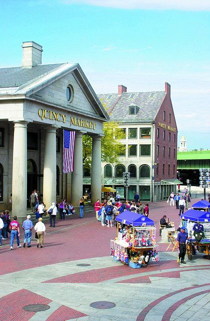 "Quincy Market. Credit Information: ""Greater Boston Convention & Visitors Bureau.""    Photos are for use by the press, for promotional materials, for print and the web. Images may not be sold and may not be used on materials for sale without the express written permission of the Greater Boston Convention & Visitors Bureau."