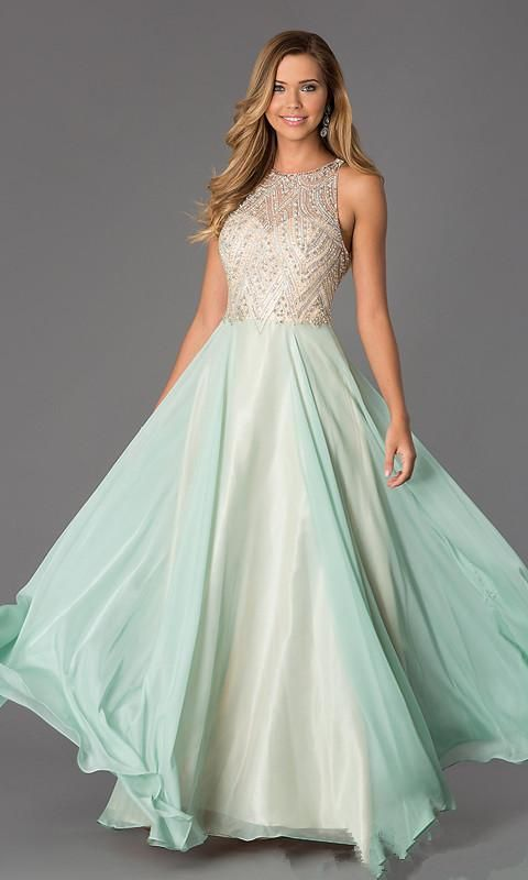 2016 Vintage Sparkling Beaded Prom Gown With Illusion Bodice Split Evening Dresses Jewel Zipper Back Graduation Dress For Girls Party Dress Modest Prom Dresses Under 100 Princess Prom Dresses Uk From Olisha, $133.87| Dhgate.Com