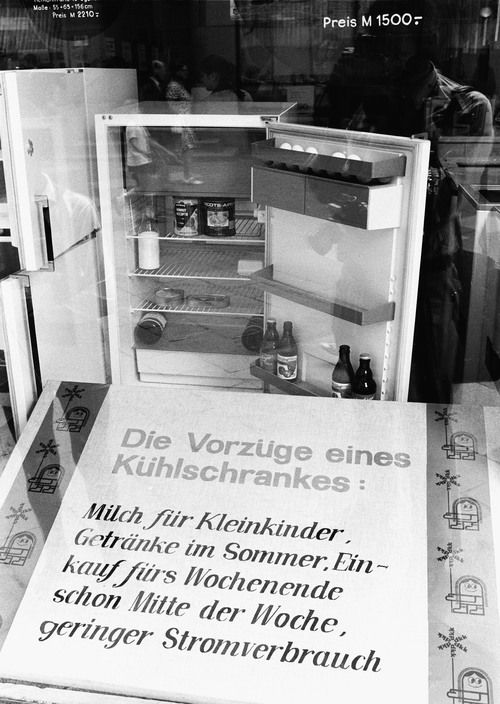 A refrigerator for sale in Rostock, East Germany, 1970.