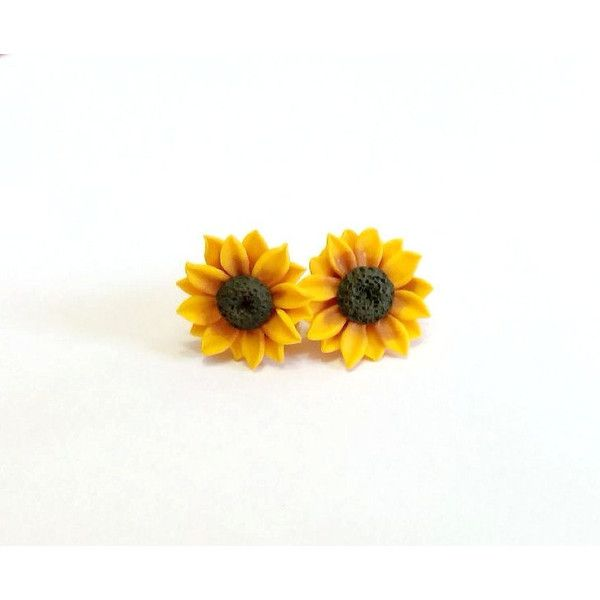NikushJewelryArt ($20) ❤ liked on Polyvore featuring jewelry, earrings, flower earrings, summer flower, summer jewelry. yellow flower earrings, sunflower stud earrings and tiny sunflower earrings