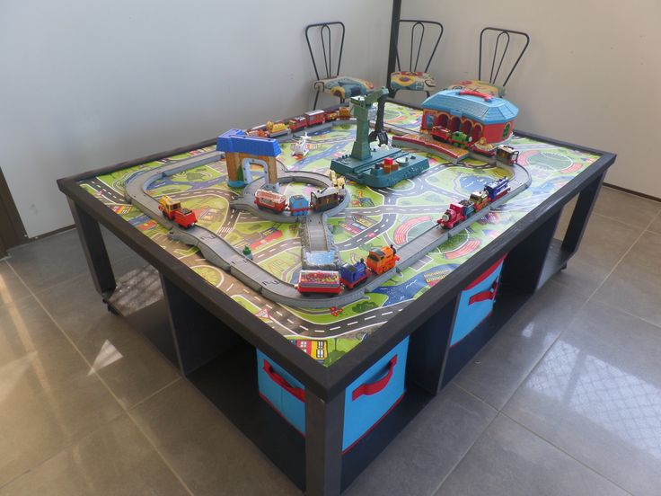 DIY Train Table. I Made This For My Son For His 2nd Birthday :)
