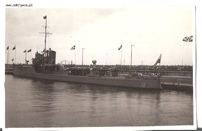 ORP Mazur in port of Oksywie, Poland c. 1938.