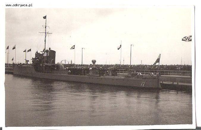 ORP Mazur in port of Oksywie, Poland c. 1938.