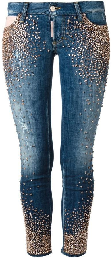 DSquared studded skinny jeans on shopstyle.com