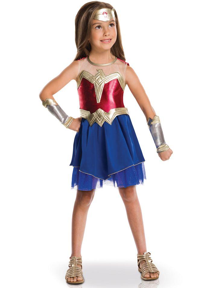 Wonder Woman™ Kostüm: Das Wonder Woman Kostüm für Mädchen steht untter offizieller DC comics™ Lizenz.Das Kostüm besteht aus ein Kleid, ein Stirnband, ein Gürtel und Armschoner.Das...
