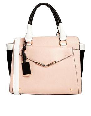 Dune Suki Nude Handbag With White Trim