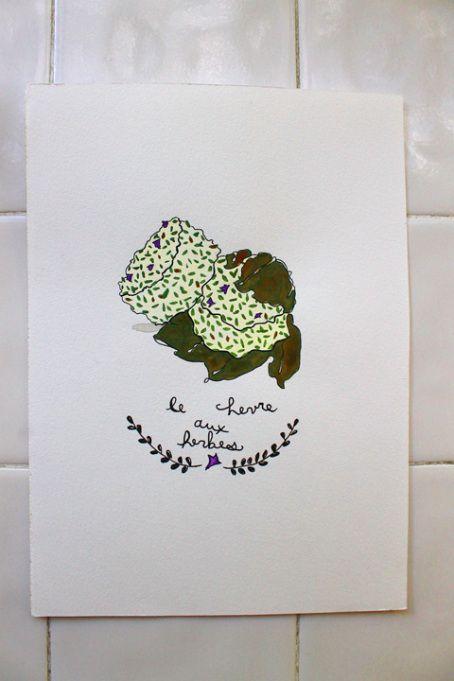 Chevre aux Herbes Illustration ©2014 Amandinette Paperie.