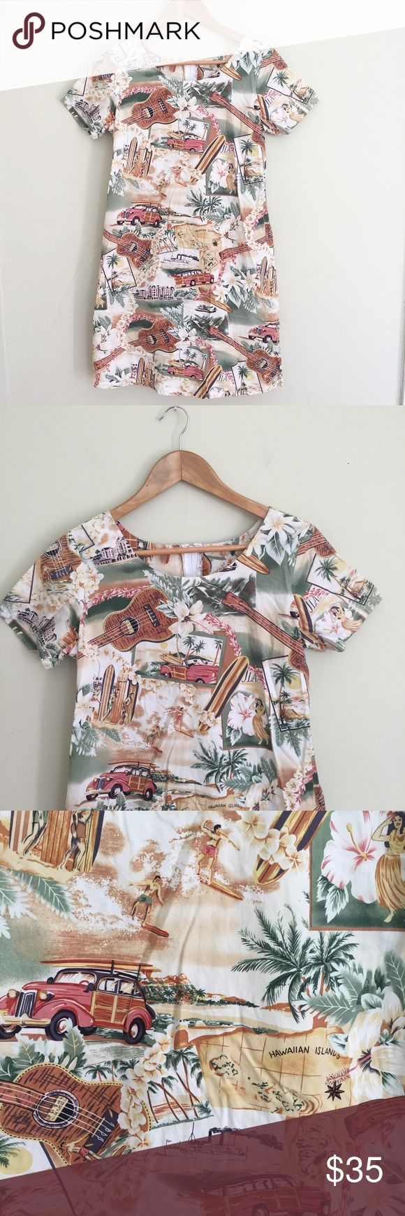"Vintage Hawaiian Ukulele Surfboard T Shirt Dress Adorable cotton t shirt dress with zip back. 34"" long, 18.5"" pit to pit. No trades, offers welcome! Vintage Dresses Mini"