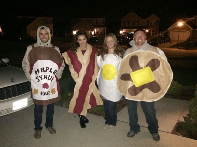 My DIY Halloween costumes. Bacon, eggs, pancake and syrup!  So fun!