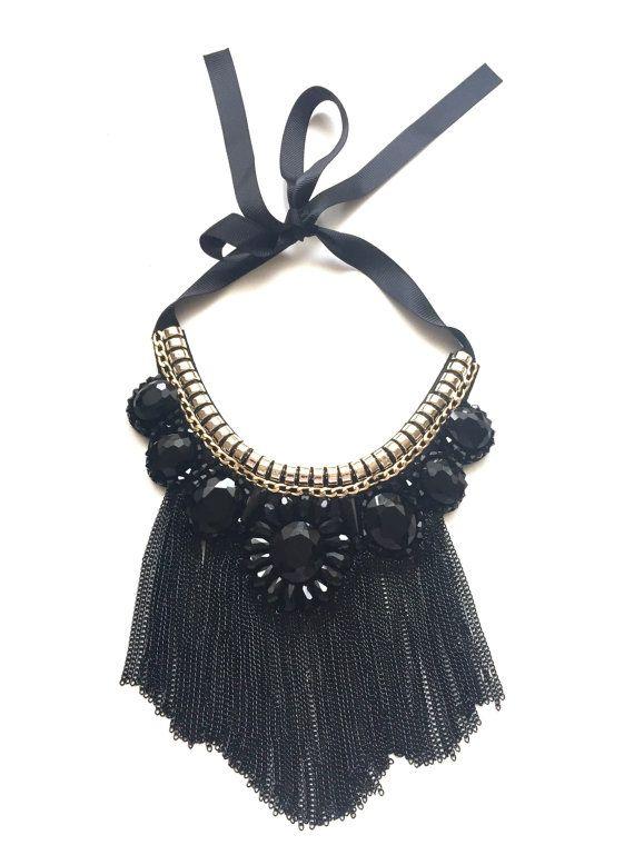 Chain black statement necklace stylish by CallmeHappySpirit