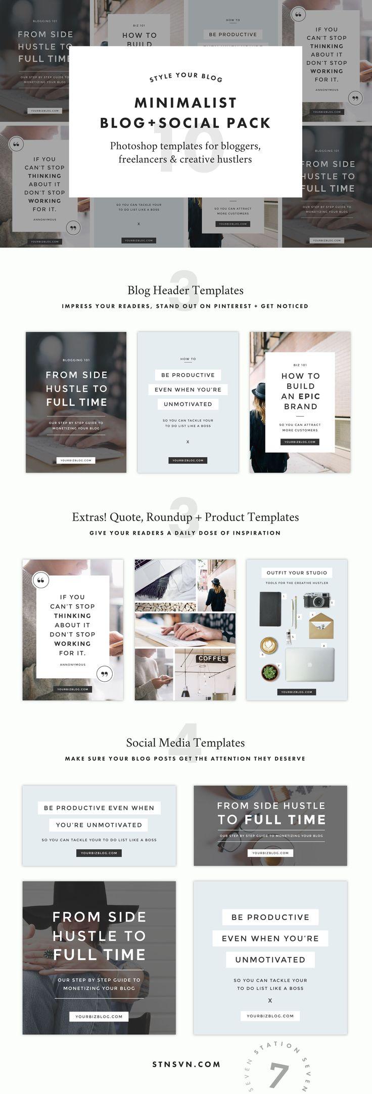 Design banner minimalist - Minimalist Blog Social Pack By Station Seven On Creativemarket