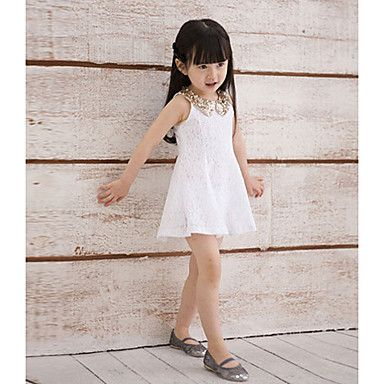 Chicas preciosas Lentejuelas de bebé Niños Collar de encaje sin mangas del chaleco de la falda de princesa Dress - USD $ 8.99