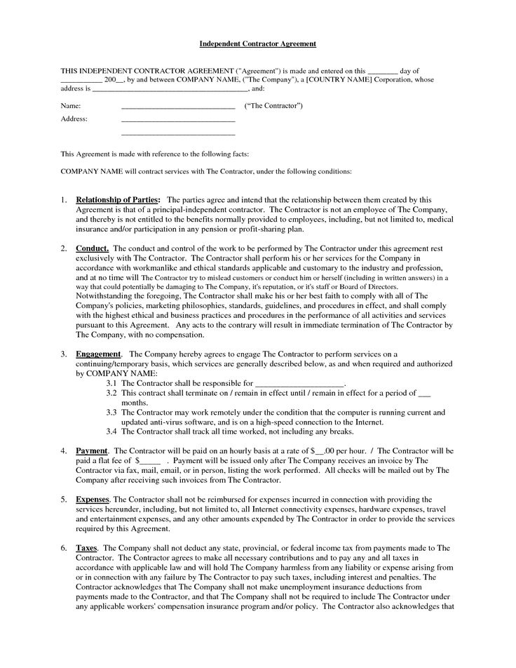 Independent Contractor Agreement Form Independent Contractor