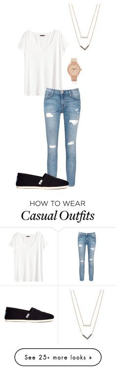 """Casual"" by enilorac8181 on Polyvore featuring H&M, Current/Elliott, Nixon, TOMS and Michael Kors"