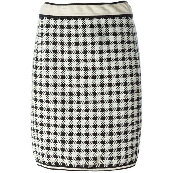 Alaïa Vintage gingham skirt ($548) ❤ liked on Polyvore featuring skirts, white, white high waisted skirt, white knee length skirt, vintage pencil skirts, patterned pencil skirt and short skirts